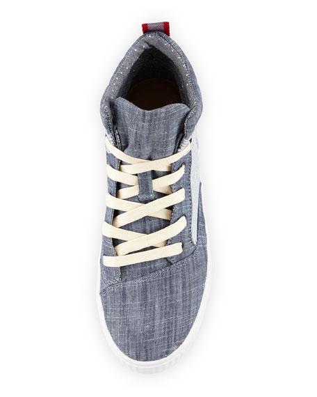 Camila Striped High-Top Sneaker, Chambray Stripe