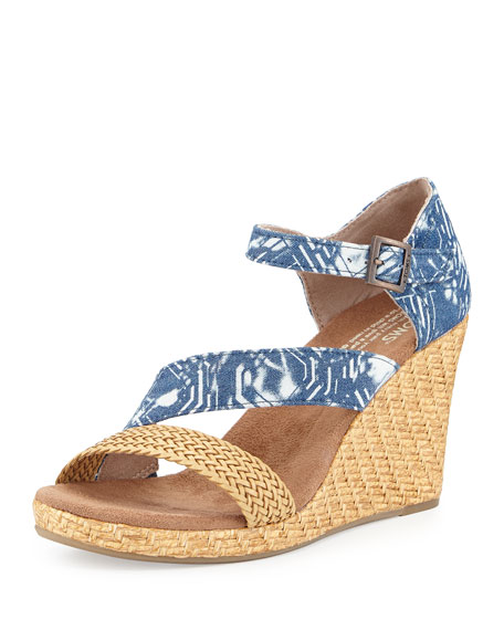 TOMS Clarissa Printed Wedge Sandal, Baltic Blue