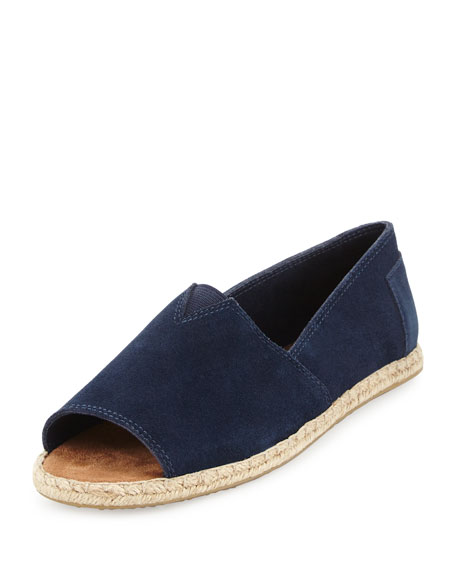 TOMS Open-Toe Alpargata Slip-On, Navy