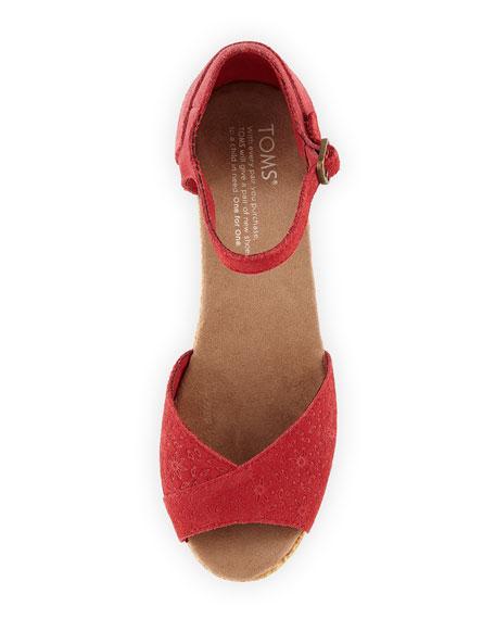 Embossed Suede Platform Wedge Sandal, Red