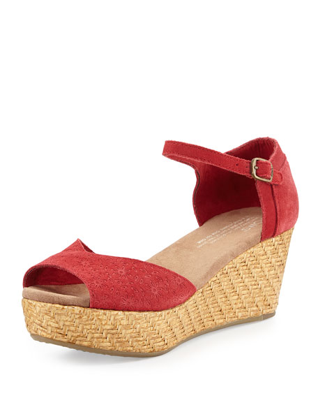 TOMS Embossed Suede Platform Wedge Sandal, Red