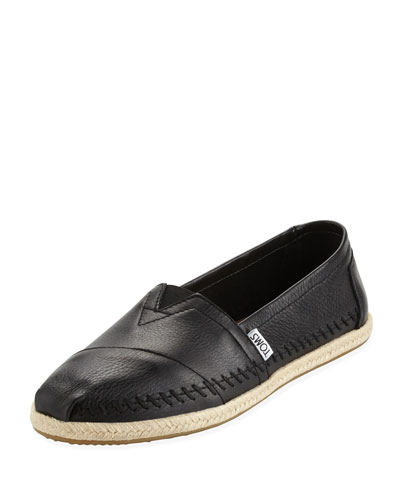 Classic Alpargata Leather Slip-On, Black