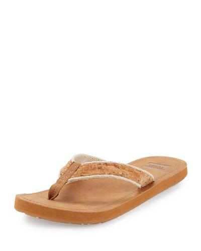 Solana Cork Thong Sandal, Tan Cork Glitz