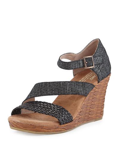 Clarissa Printed Wedge Sandal, Black