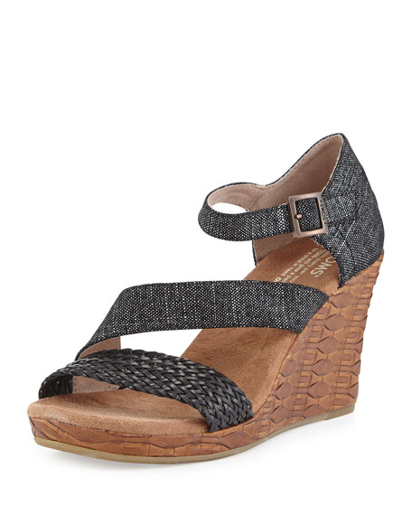 TOMS Clarissa Printed Wedge Sandal, Black