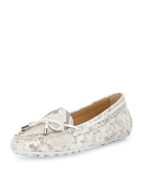 MICHAEL Michael Kors Daisy Python-Embossed Moccasin, Natural