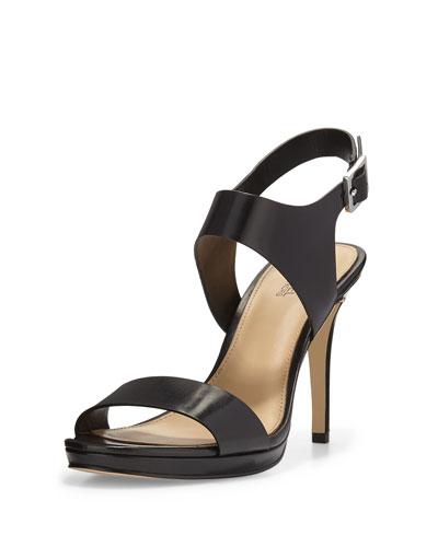 Claudia Leather Mid-Heel Sandal, Black