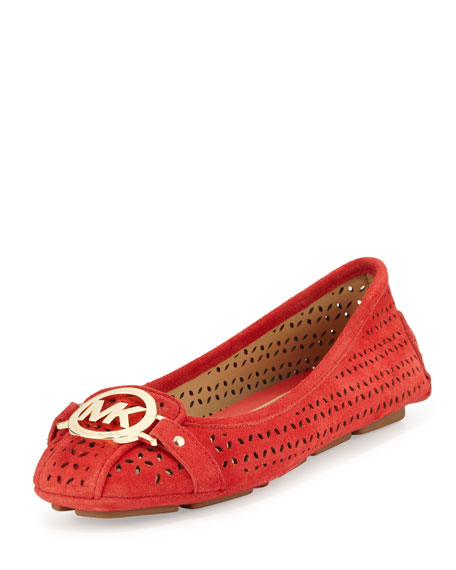 MICHAEL Michael Kors Fulton Laser-Cut Suede Moccasin, Coral Reef