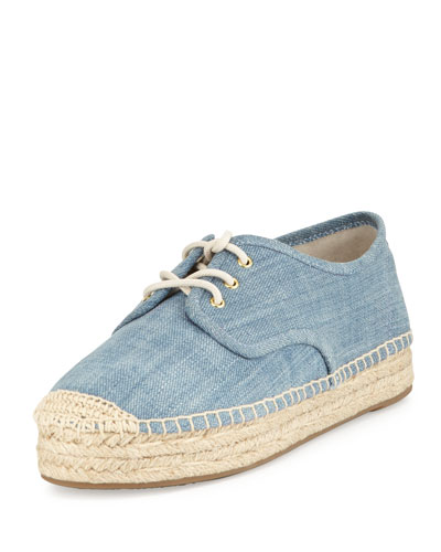 Kendrick Denim Low-Top Espadrille Sneaker, Washed Denim