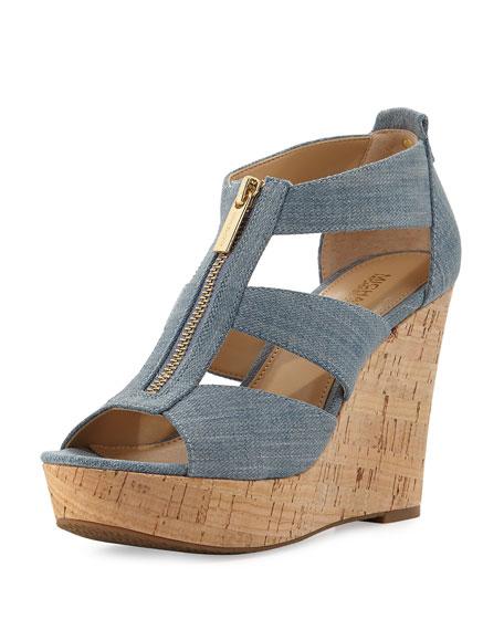 MICHAEL Michael Kors Damita Zip-Front Wedge Espadrille Sandal,