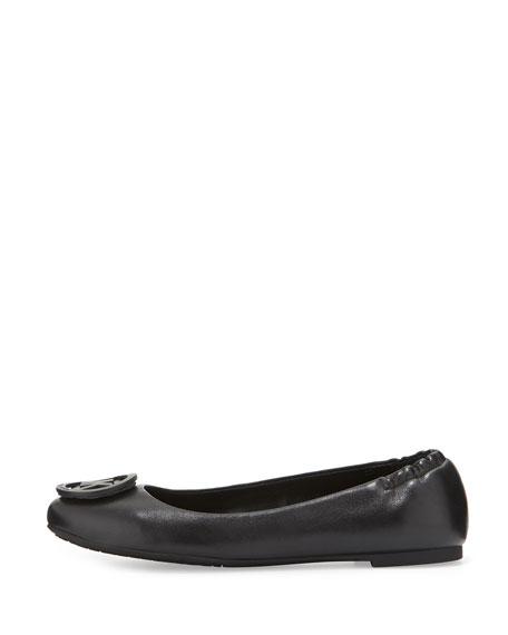 Lindsay Logo-Toe Leather Ballerina Flat, Black
