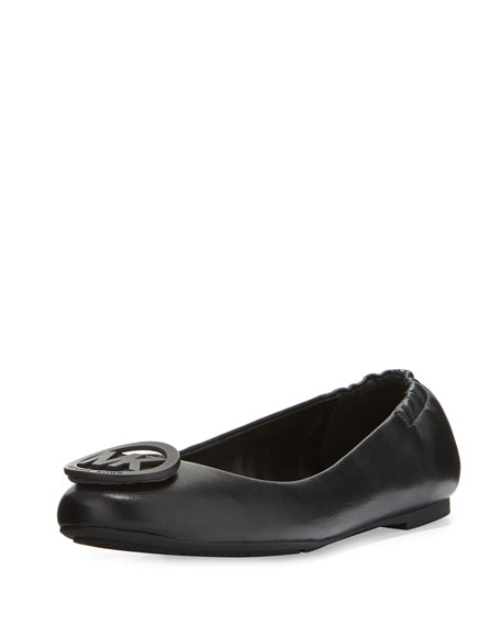 MICHAEL Michael Kors Lindsay Logo-Toe Leather Ballerina Flat, Black