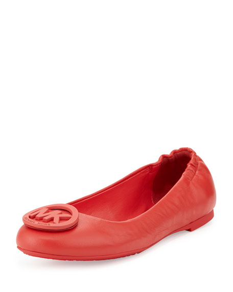 MICHAEL Michael Kors Lindsay Logo-Toe Leather Ballerina Flat, Passion