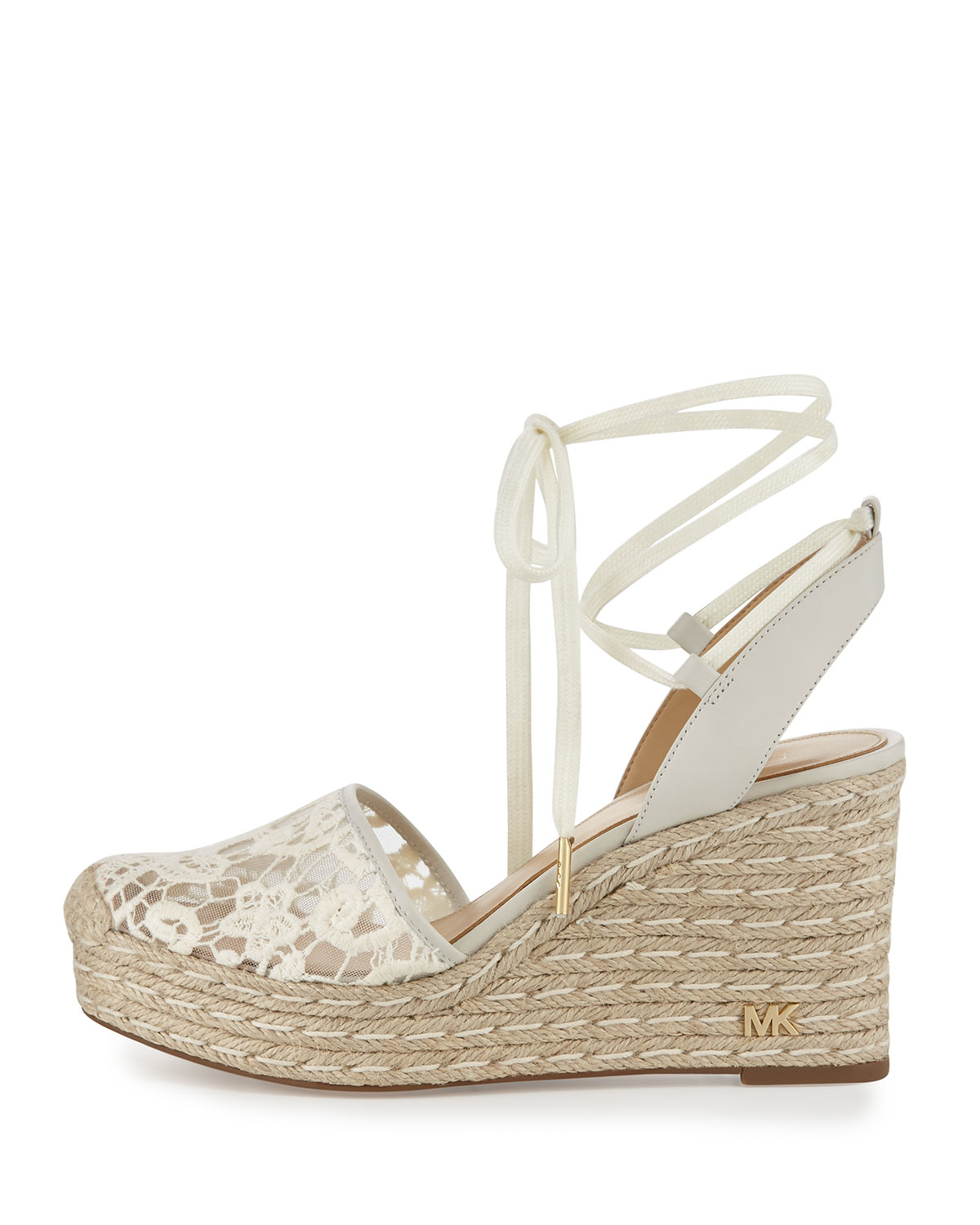 b00cd5661a2 Margie Embroidered Ankle-Wrap Espadrille Wedge Sandal, Cream