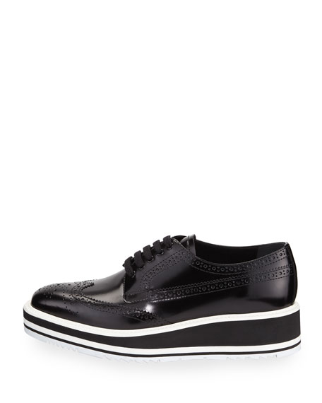 Platform Brogue-Trim Leather Oxford, Nero