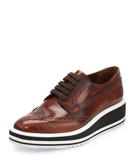 Prada Platform Brogue-Trim Leather Oxford, Tobacco (Tabacco)