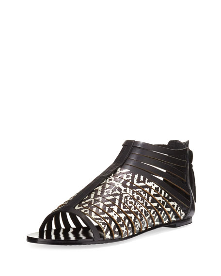 Cynthia Vincent Fame Printed Leather Cage Sandal, Black