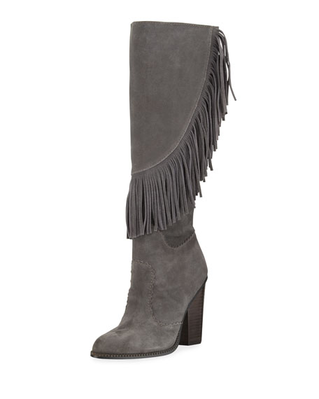 Cynthia Vincent Navy Fringe Suede Knee Boot, Smoke