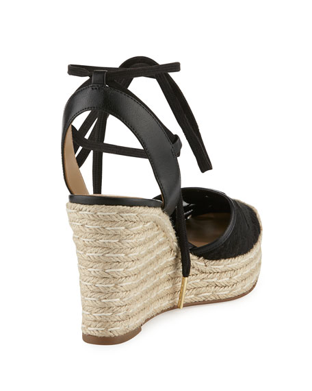 Margie Embroidered Ankle-Wrap Espadrille Wedge Sandal, Black