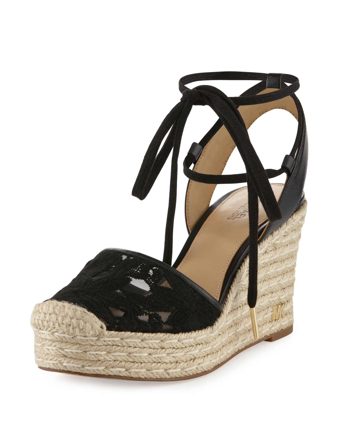 a3f1a2a602e Margie Embroidered Ankle-Wrap Espadrille Wedge Sandal, Black