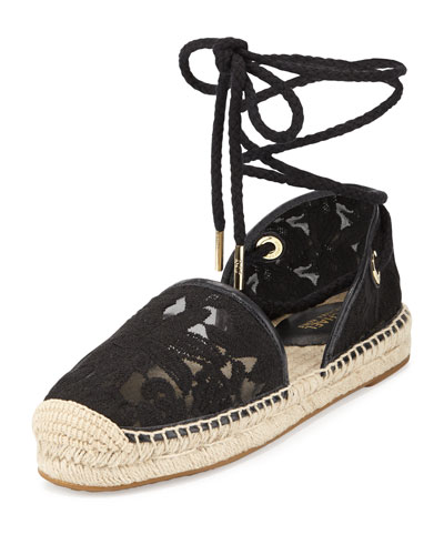 Margie Embroidered Ankle-Wrap Espadrille Flat, Black