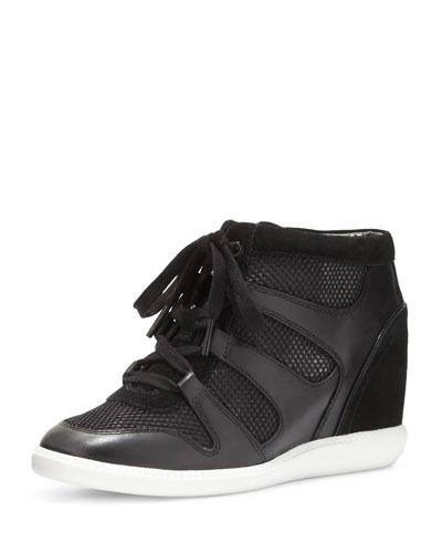Astrid High-Top Wedge Sneaker, Black