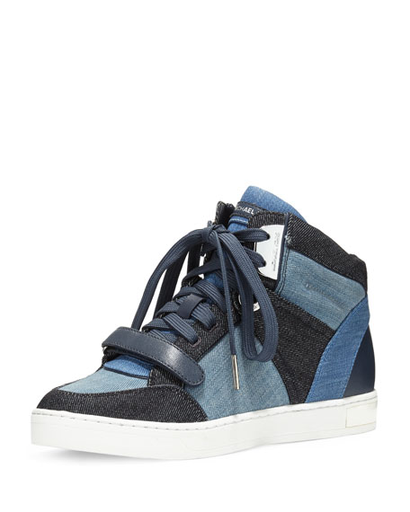 Ollie Denim High-Top Sneaker, Denim/Multi