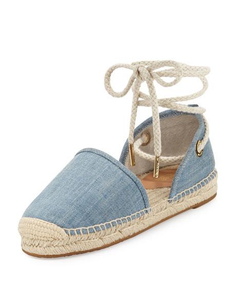 Margie Denim Ankle-Wrap Espadrille Flat, Washed Denim