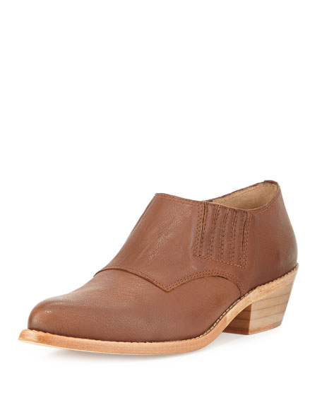 Nice Tumbled Leather Ankle Boot, Chocolate