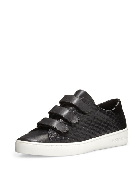 Craig Embossed Leather Grip-Strap Sneaker, Black