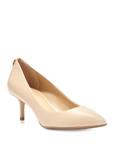 MK-Flex Leather Mid-Heel Pump  Nude