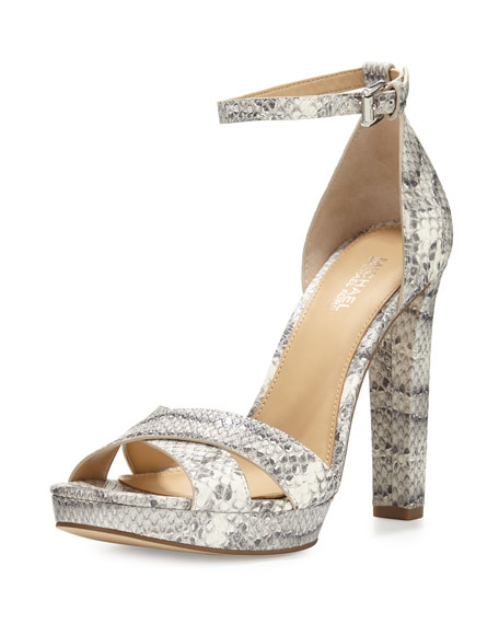 MICHAEL Michael Kors Diva Crisscross Ankle-Strap Sandal, Roccia