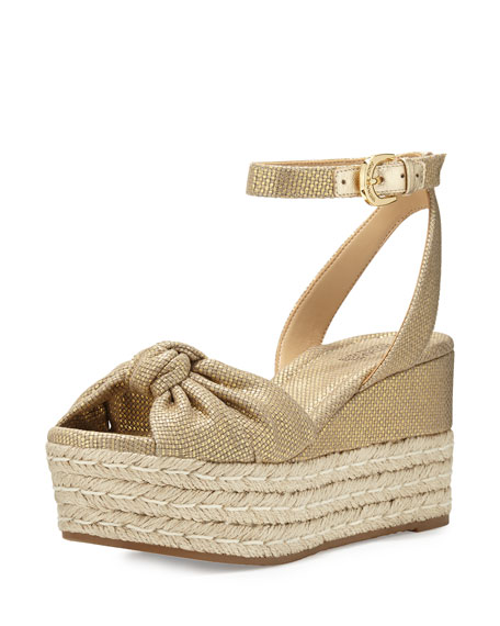 MICHAEL Michael Kors Maxwell Mid-Wedge Sandal, Gold