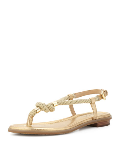 Holly Knotted Rope Sandal, Pale Gold