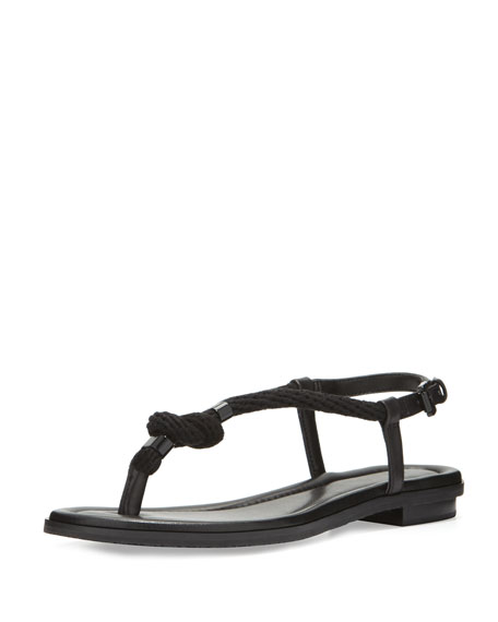 MICHAEL Michael Kors Holly Knotted Rope Flat Thong Sandal, Black