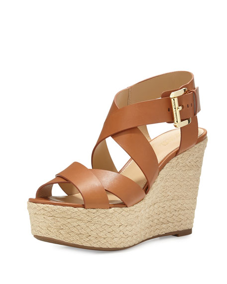 MICHAEL Michael Kors Celia Leather Mid-Wedge Espadrille Sandal, Luggage