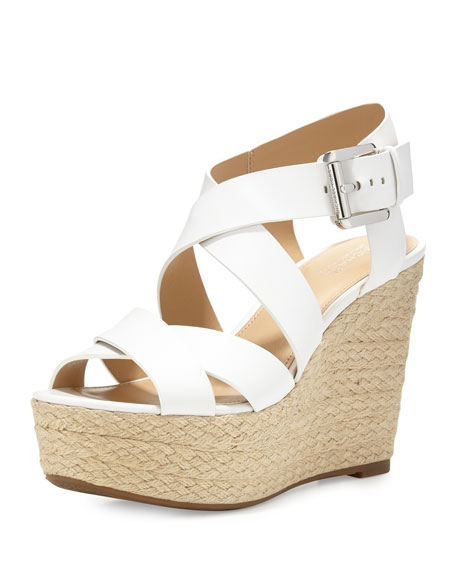 MICHAEL Michael Kors Celia Leather Mid-Wedge Espadrille Sandal, Optic White