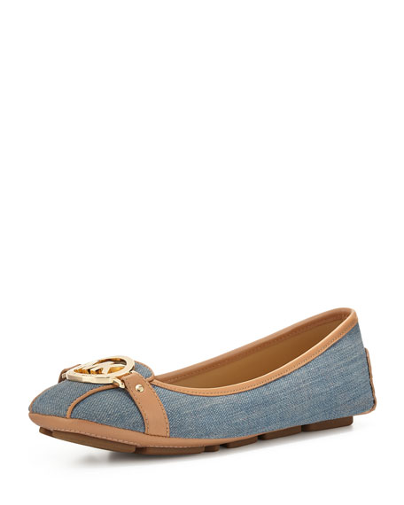 MICHAEL Michael Kors Fulton Logo-Buckle Moccasin, Washed Denim