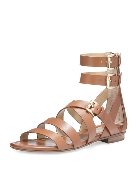 MICHAEL Michael Kors Jocelyn Strappy Flat Leather Sandal, Luggage