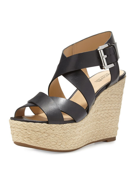 MICHAEL Michael Kors Celia Leather Mid-Wedge Espadrille Sandal, Black