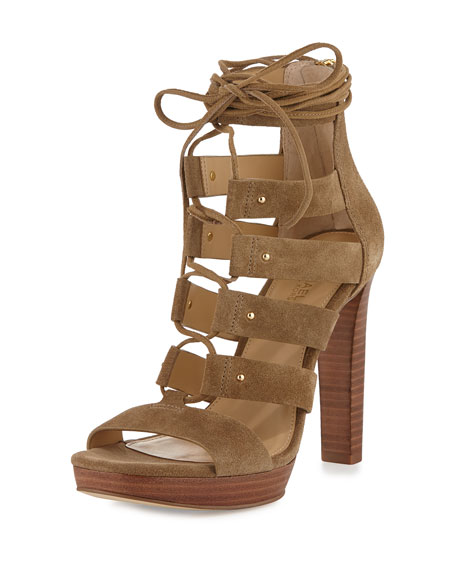 MICHAEL Michael Kors Sofia Suede Lace-Up 90mm Sandal, Desert