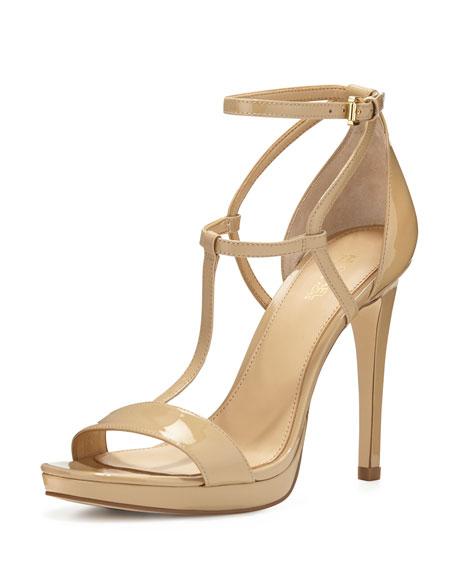 Simone Patent T-Strap Sandal, Nude