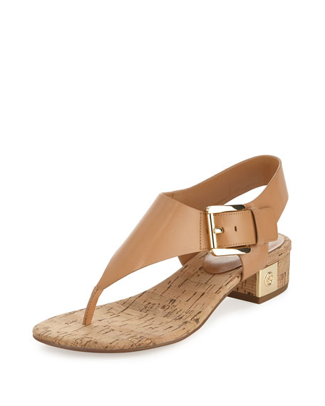 MICHAEL Michael Kors London Leather Low-Heel Thong Sandal, Suntan