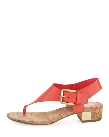 London Leather Low-Heel Thong Sandal, Coral