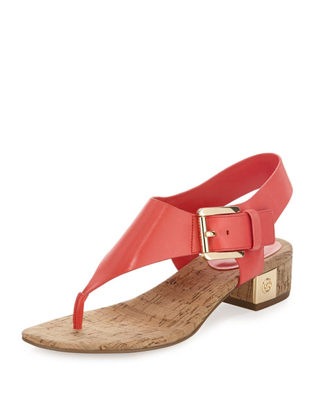 MICHAEL Michael Kors London Leather Low-Heel Thong Sandal, Coral