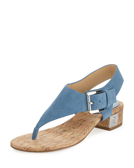 MICHAEL Michael Kors London Suede Low-Heel Thong Sandal, Denim