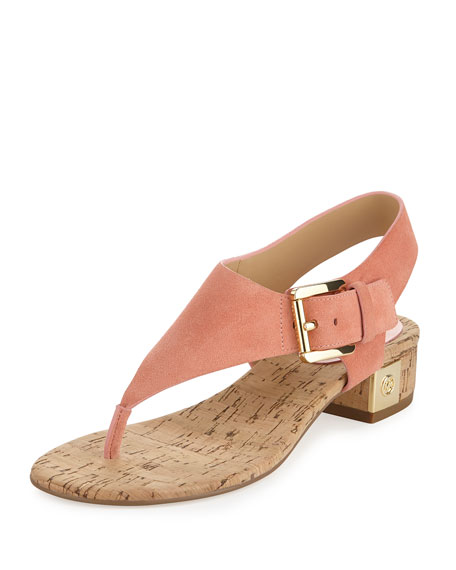 MICHAEL Michael Kors London Suede Low-Heel Thong Sandal, Peach