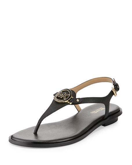 MICHAEL Michael Kors Lee Leather Flat Thong Sandal, Black