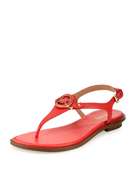 MICHAEL Michael Kors Lee Leather Flat Thong Sandal, Coral Reef
