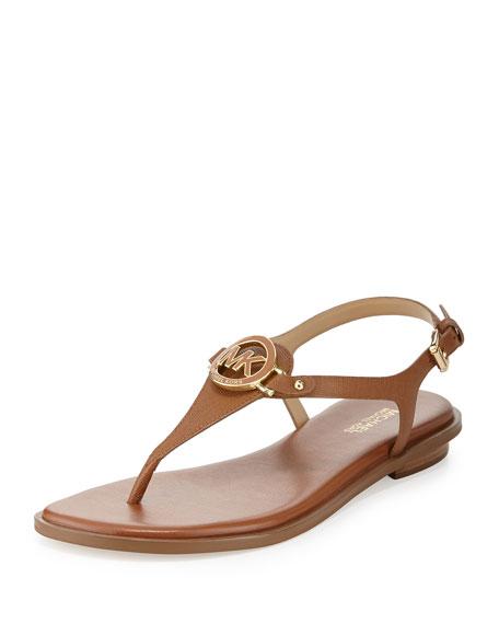 MICHAEL Michael Kors Lee Leather Flat Thong Sandal, Luggage